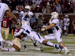 October 24, 2015 Atlanta:  Georgia Tech Yellow Jackets defensive back Jamal Golden makes an interception in the end zone to stop the  Florida State Seminoles' drive late in the 4th quarter  Saturday October 24, 2015. BRANT SANDERLIN/BSANDERLIN@AJC.COM