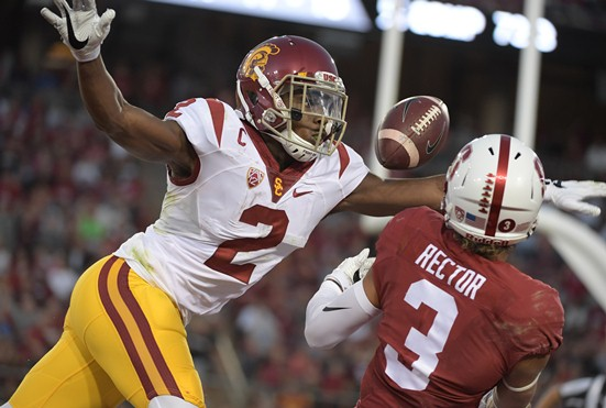 Sep 17, 2016; Stanford, CA, USA; Stanford Cardinal wide receiver Michael Rector (3) is defended by USC Trojans defensive back Adoree Jackson (2) during a NCAA football game at Stanford Stadium. Stanford defeated USC 27-10. Photo by Kirby Lee